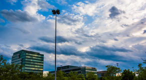 Interesting sky over highrises in Columbia, Maryland. Interesting sky over highrises in Columbia, Maryland stock photos