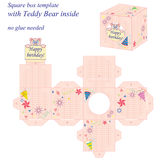 Interesting square box template with cute Teddy Bear inside, holding note Happy birthday. Stock Photo