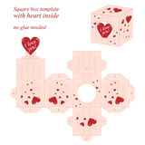 Interesting square box template with red heart inside royalty free illustration