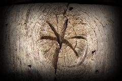 Interesting star in wood knot Stock Photo