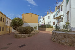 Interesting street in a small Spanish town Palamos in Spain Royalty Free Stock Photography