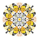 Interesting symmetric pattern with skulls and skel. Etons on a white background Royalty Free Stock Photography