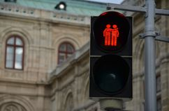 Tolerant traffic light. An interesting traffic light in support of LGBT people in Vienna, Austria Royalty Free Stock Image