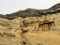 An interesting and unique view of the hoodoos outside of Drumheller, Alberta, Canada. royalty free stock photography