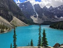 An interesting and unique view looking over Moraine Lake, in Jasper National Park, Alberta, Canada. royalty free stock photography