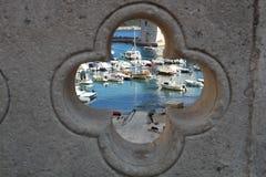 View through the bridge hole stock image