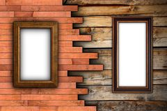 Interesting wood wall with frames. Interesting wood wall with painting frames for your design stock image