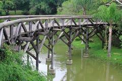 Interesting wooden bridge in park of Curitiba Stock Photography