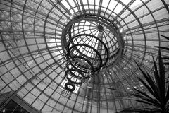 Interestingly Design Glass Dome Ceiling Of A Building In Vancouver Downtown In Black and White. This is a ceiling inside of a building in Vancouver. The Glass stock photography
