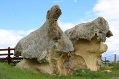 Interestingly shaped eroded rocks at Takiroa NZ. Two large rocks that have been eroded into interestingly shapes by the Takiroa Rock Art site near Duntroon Stock Image