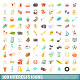 100 interests icons set, cartoon style. 100 interests icons set in cartoon style for any design vector illustration stock illustration