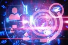 Interfaccia blu e rossa di tecnologia Fotografia Stock