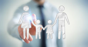 Interfaccia commovente della famiglia dell'uomo d'affari con il suo renderi del dito 3D Fotografia Stock