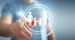Interfaccia commovente della famiglia dell'uomo d'affari con il suo renderi del dito 3D Fotografia Stock Libera da Diritti