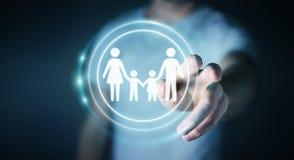 Interfaccia commovente della famiglia dell'uomo d'affari con il suo renderi del dito 3D Immagine Stock Libera da Diritti