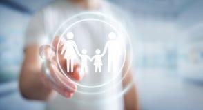 Interfaccia commovente della famiglia dell'uomo d'affari con il suo renderi del dito 3D Fotografie Stock Libere da Diritti