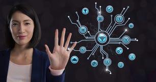 Interfaccia commovente delle icone di affari della donna di affari varia Immagine Stock Libera da Diritti