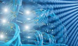 Interfaccia del connettore ottico della fibra Luce blu vaga del fondo di tecnologia immagini stock libere da diritti