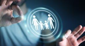Interfaccia della famiglia della tenuta dell'uomo d'affari nella sua rappresentazione della mano 3D Fotografie Stock Libere da Diritti