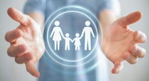 Interfaccia della famiglia della tenuta dell'uomo d'affari nella sua rappresentazione della mano 3D Immagine Stock Libera da Diritti