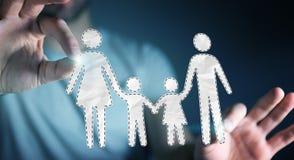 Interfaccia della famiglia della tenuta dell'uomo d'affari nella sua rappresentazione della mano 3D Fotografie Stock