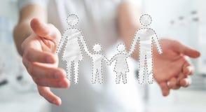 Interfaccia della famiglia della tenuta dell'uomo d'affari nella sua rappresentazione della mano 3D Immagine Stock