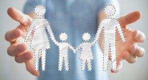 Interfaccia della famiglia della tenuta dell'uomo d'affari nella sua rappresentazione della mano 3D Fotografia Stock