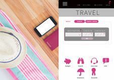 Interfaccia di App dell'ozio di viaggio Fotografia Stock