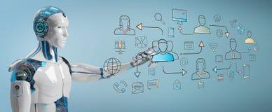 Interfaccia di controllo delle icone della rete sociale del robot bianco illustrazione vettoriale