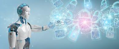 Interfaccia di protezione di sicurezza di web usata dalla rappresentazione del robot 3D illustrazione vettoriale