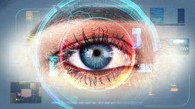 Interfaccia 4K di tecnologia di ricerca dell'identificazione dell'occhio umano video d archivio