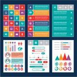 Interfaccia mobile piana - elementi di progettazione Fotografia Stock