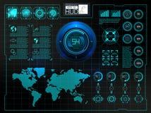 Interfaccia utente futuristica HUD UI Interfaccia utente grafica virtuale astratta di tocco Spazio cosmico del fondo di Hud illustrazione di stock