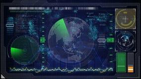 Interfaccia utente grafica virtuale blu futuristica di tocco HUD mappa digitale della terra illustrazione di stock