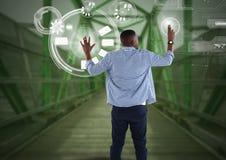 Interface émouvante d'homme d'affaires sur le pont vert illustration de vecteur