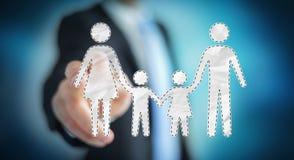 Interface émouvante de famille d'homme d'affaires avec son renderi du doigt 3D Images libres de droits