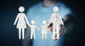 Interface émouvante de famille d'homme d'affaires avec son renderi du doigt 3D Photographie stock