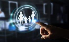 Interface émouvante de famille d'homme d'affaires avec son renderi du doigt 3D Photos libres de droits