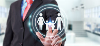Interface émouvante de famille d'homme d'affaires avec son renderi du doigt 3D Photos stock