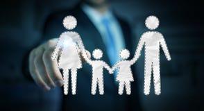 Interface émouvante de famille d'homme d'affaires avec son renderi du doigt 3D Image libre de droits