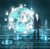 Interface abstract earth. Businessman pushing to interface, social media concept Stock Photography