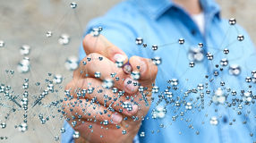 Interface abstraite émouvante de connexion d'homme d'affaires avec un stylo 3D Photo libre de droits