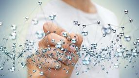 Interface abstraite émouvante de connexion d'homme d'affaires avec un stylo 3D Image stock