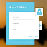 Interface account login, information on a social network Royalty Free Stock Image