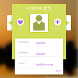 Interface account login, information on a social network Stock Photography
