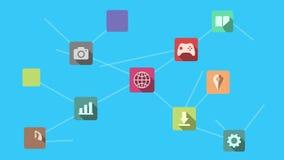 Interface bleue de Digital avec des icônes et des liens s'élevant au-dessus des graphiques et des diagrammes clips vidéos