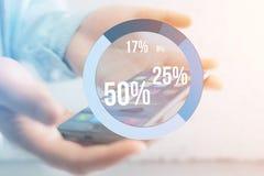 Interface bleue de graphique d'enquête avec le thème d'affaires sortant un smar Photo libre de droits