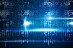 Interface bleue de technologie avec le code binaire Photo stock