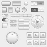 Interface buttons set. Push buttons, media buttons, switch. Vector 3d illustration Stock Image
