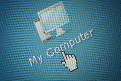 Interface computer Icon and a hand mouse cursor Stock Photography